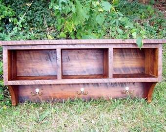 Reclaimed Barnwood Coat Rack Cubby Shelf With Wrought Iron