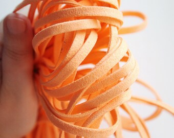 Orange Suede cord - high quality soft faux cord 1 m - 1,09  yards or 3,28 feet - 5 mm Width
