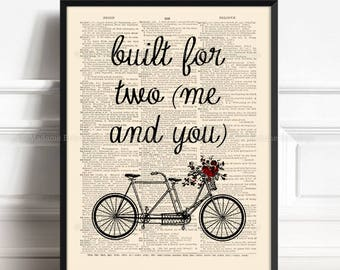 Tandem Flower, Bike Flower Basket, Wife Poster Gift, Bicycle Flower, Built for two, Funny Dorm Print, Wedding Gift, Love Gift For Him 424