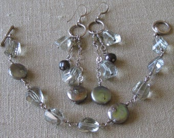Green Amethyst and Freshwater Pearl Sterling Silver Linked Bracelet