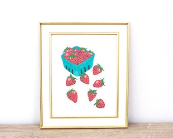 Strawberries Wall Art, Kitchen Print, Fruit Wall Decor, Produce Printable, Gift for Her | Instant Download