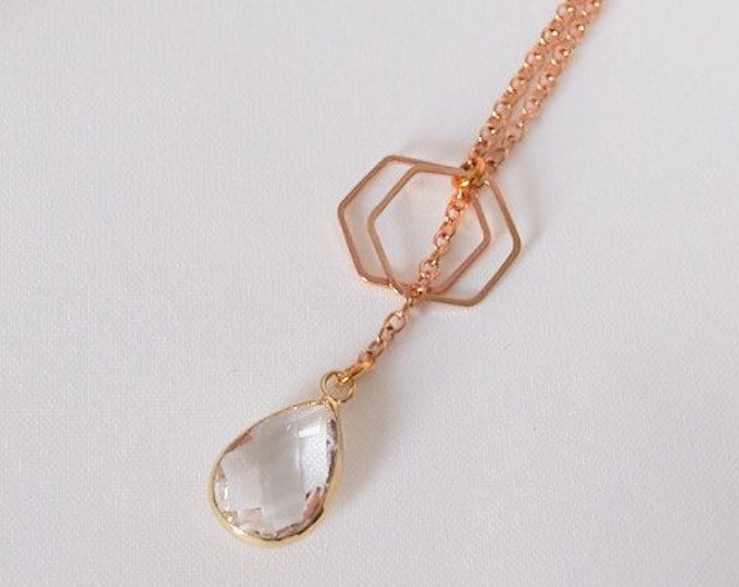 Gold Hera Slip On Lariat, teardrop necklace, glass teardrop charm, gold jewelry
