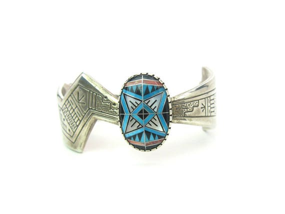 Vintage Native American Turquoise Morning Star Sterling Silver Cuff Bracelet by Tenorio