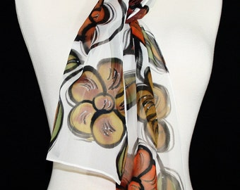 White Silk Scarf. Brown Hand Painted Shawl. Handmade Silk Chiffon Scarf AUTUMN FLOWERS. Size 8x54. Birthday, Bridesmaid Gift. Gift Wrapped.