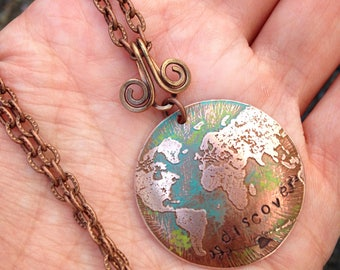 Etched metal world pendant necklace - discover
