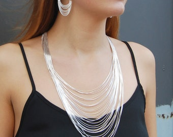 Long Silver Chain Necklace, Sterling Silver Layered Necklace With Matching Earrings, 32 Strands