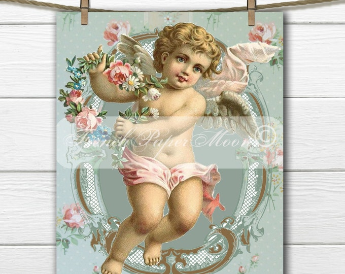 Shabby Chic Digital Vintage Cherub, Victorian Cherub with Roses, Angel Pillow Transfer Graphic, Instant Download