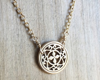 Filigree Gold and Brass Necklace