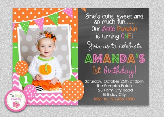 Pumpkin birthday invitation girls pumpkin birthday party like this item filmwisefo Image collections