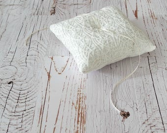 Lace and Linen Ring Bearer Pillow, Three Sizes