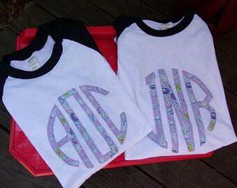 Applique Monogram Raglan Tee, Monogram Baseball Tee, Raglan shirt, Baseball shirt