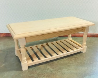 Dollhouse Miniature Unfinished Large Kitchen Prep Table 1:12 Scale Furniture