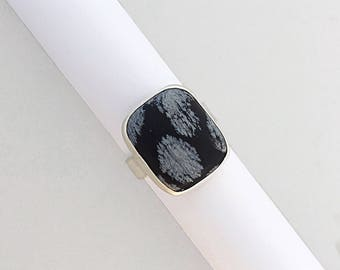 Snowflake Obsidian Ring, Size 7.25, Sterling Silver, Statement Ring, Silversmith, Handmade, Wandering Designs, Art Jewelry, Gemstone Ring