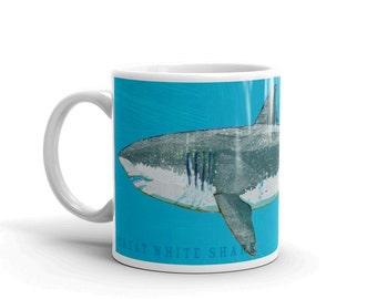 Coffee Gift, Husband Gift, Fish Coffee Cup, Shark Gift, Great White Shark Mug, Fishing Gift, for Fisherman Gift, Fish Gift for Him, Fish Mug