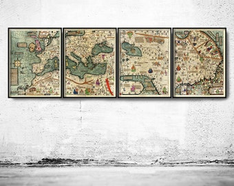 Medieval World Map 1375 Europe, Mediterranean Sea and Middle East