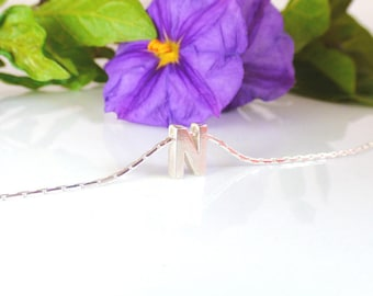 Initial Necklace Sterling Silver - Tiny capital letter on a lovely chain, Dainty Necklace, Letter Necklace