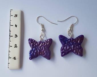 Polymer clay purple butterfly earrings
