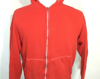 60's vintage distressed zip up hoodie red 100% cotton
