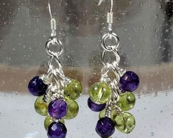 Peridot Amethyst Dangle Earrings Wire Wrapped Gemstone Earrings Sterling Silver