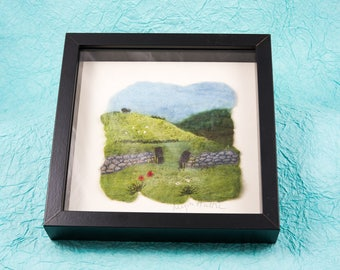 Original textile art handmade Merino wool felt landscape with stone wall and poppies scene picture framed