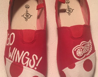 Detroit Red Wings Hand Painted Shoes