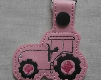 Light Pink Tractor Key Ring