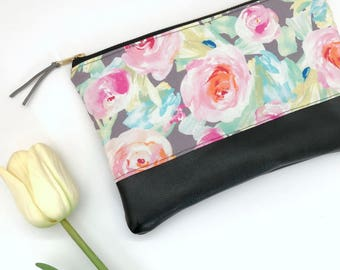 Gray Floral Clutch, Fashion Clutch, Knitting Needle bag, Gift For Her Under 40, Personalized Monogram Clutch Purse, Valentine's Day Gift