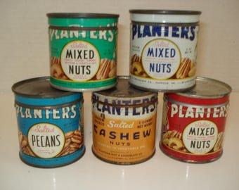 Vintage lot of Planters Peanut tins