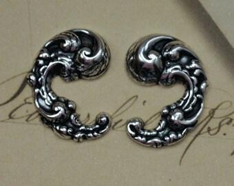 2 Silver Ornate Scroll Findings 1584