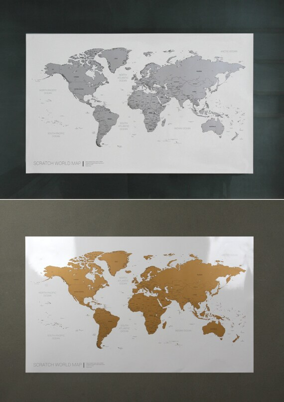 Scratch off world map version 2 gold silver like this item gumiabroncs Images