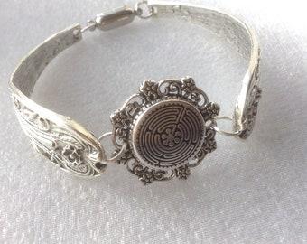 Labyrinth Maze Bracelet,  Vintage Medieval, Meditation, Labyrinth Spoon Bracelet, Labyrinth Bangle, Maze Bracelet