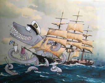 Captain Sharktopus 8.5 x 11 Art Print