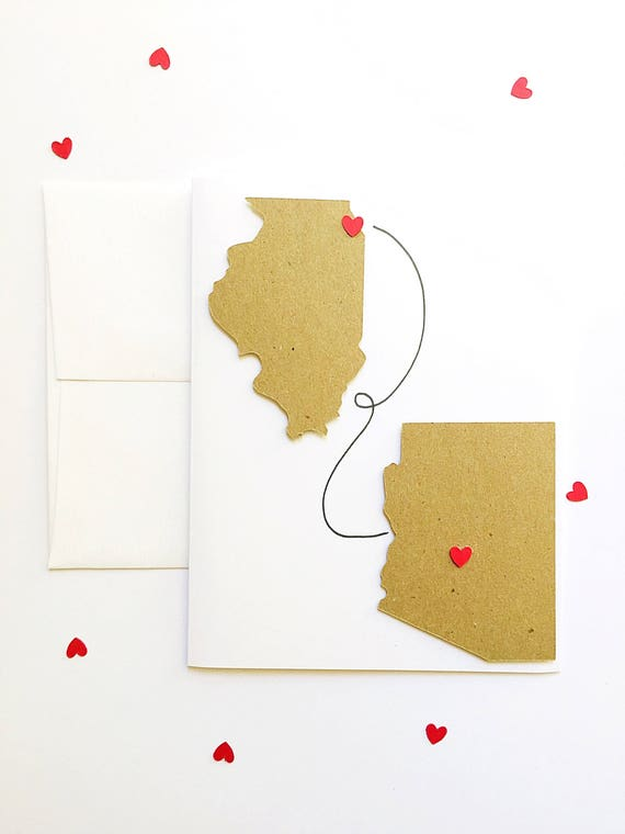 Custom Long Distance Friends Stationery. Places Traveled Together. Friendship Travels. Closing The Distance. Personalized State Heart Cards
