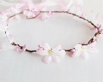 Blush Bridal Halo, Pale Pink Flower Crown, Boho Floral Crown, Baby Girl Halo, Newborn Photography, Flower Girl Wreath, Woodland Headband