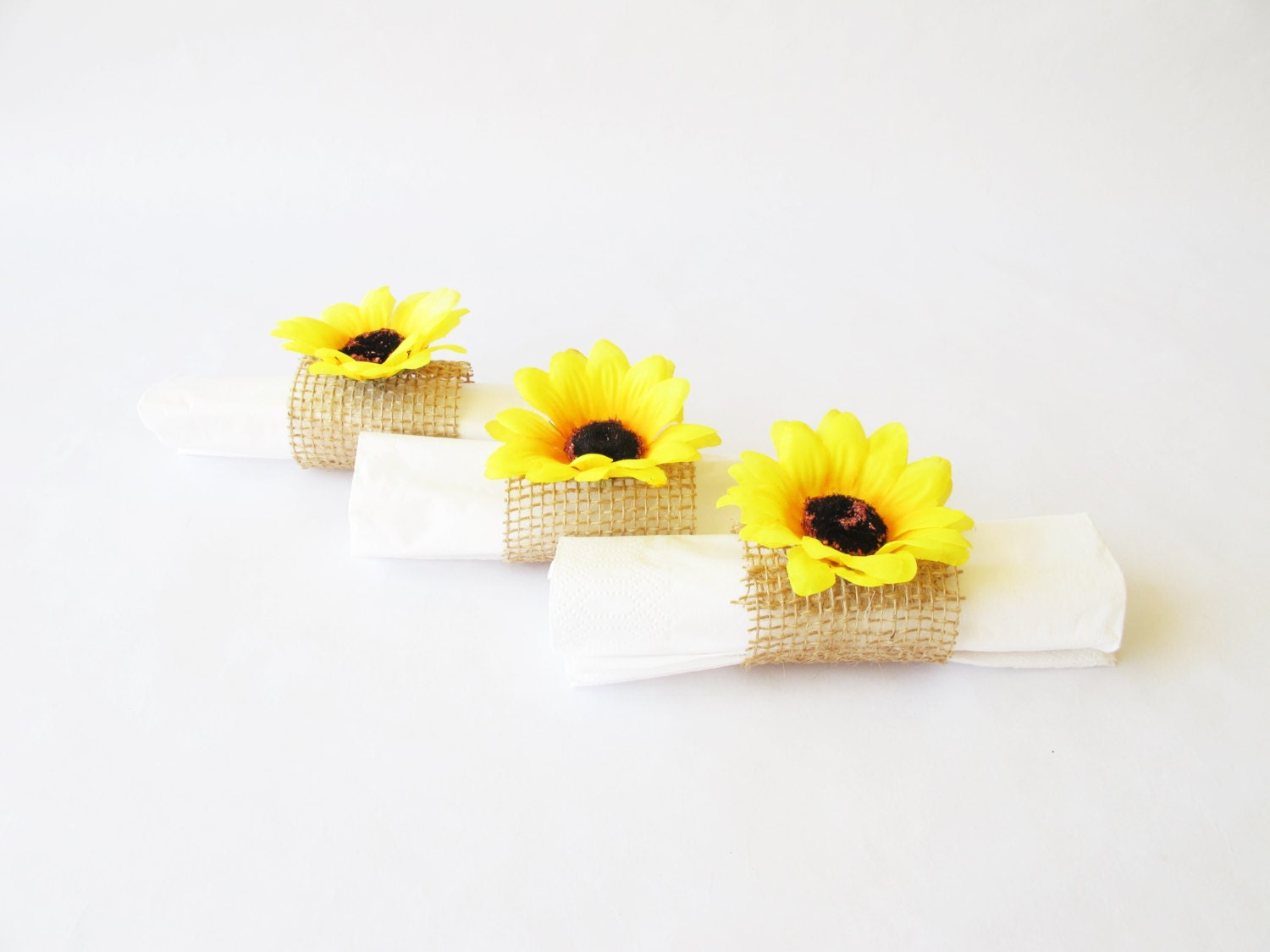 15 Napkin Rings Yellow Sunflowers Brown Burlap Wedding Party