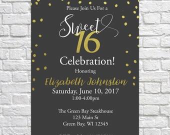 Printable Birthday Invitation, Sweet Sixteen Invitation, Sweet 16, Teen Birthday, Birthday Invitation, Sweet 16 Invite, Gold Confetti