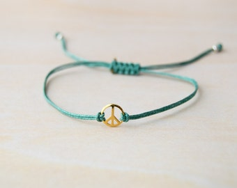 Peace sign bracelet, gold peace and love bracelet, friendship bracelet, peace bracelet, gold peace bracelet, tiny peace sing, peace charm