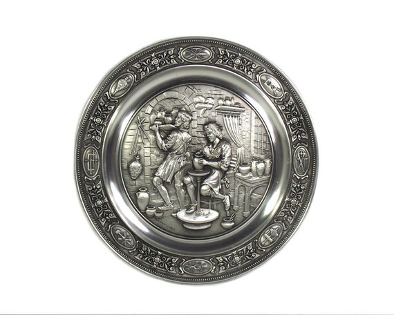 "Vintage German Pewter Plate Depicting ""The Potter"""