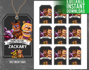 Five Nights at Freddy's Thank You Tags, 5 Nights at Freddy's Favor Tags, Five Nights at Freddys Printables, Five Nights Party, Editable PDF