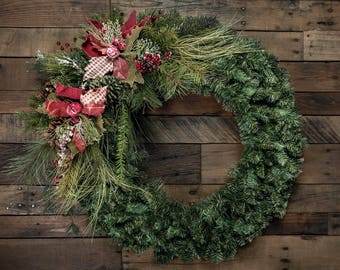"""Burlap Poinsettia, Pine, & Pine Cone Christmas Wreath Accent/Swag - Shown on a 24"""" Wreath (wreath not included)"""