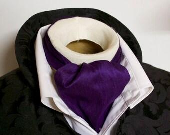 DAY Cravat Victorian Ascot Tie Cravat - Royal Purple Dupioni SILK