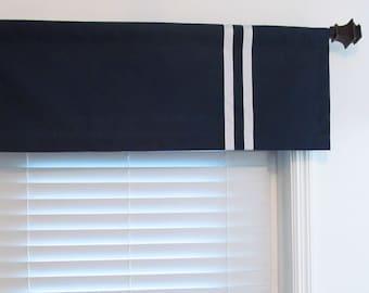 NEW!!! Modern Straight Valance Ribbon Trimmed  Navy White Vertical Stripe  Original Design by OldStation!
