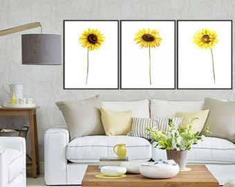 Set of 3 Sunflower watercolor Clipart Painting Sunflower art print sunflower painting, Flower painting, Floral art Botanical watercolor art