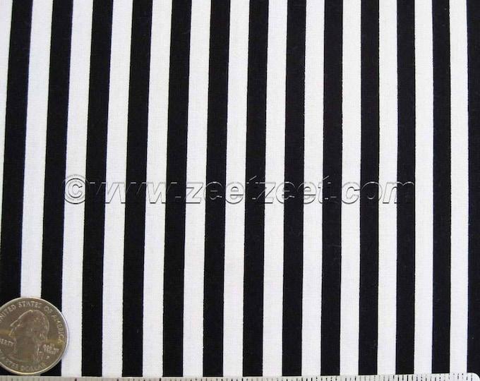 "Michael Miller CLOWN STRIPE Black & White - 1/4"" Wide Stripe Cotton Quilt Fabric - 34"" Remnant or Fat Quarter Fq Halloween"