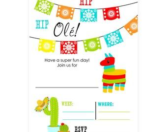 PRINTABLE Fiesta Party Invites - #DIY #Digital #File (instant download)