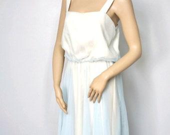 Blue Chiffon Dress Vintage 1970's Blousey Summer Light Formal Party Bridesmaid Feminine Sundress Size 8