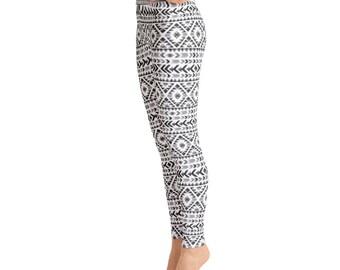 Gray Aztec Yoga LeggingsCapri Yoga Pants, Sport Stretch Leggings, Fitness Workout Yoga Pants Joggers Active, Mommy & Me LeggingsYoga Shorts