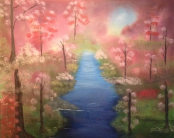 Blossoms - oil painting 22 x 28 inches canvas (Nature, Landscape)