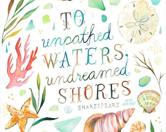 Undreamed Shores - Shakespeare - various sizes - STRETCHED CANVAS - Katie Daisy art