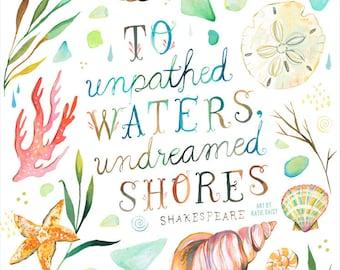 Art de Katie Daisy insoupçonnées rives - Shakespeare - différentes tailles - toile-